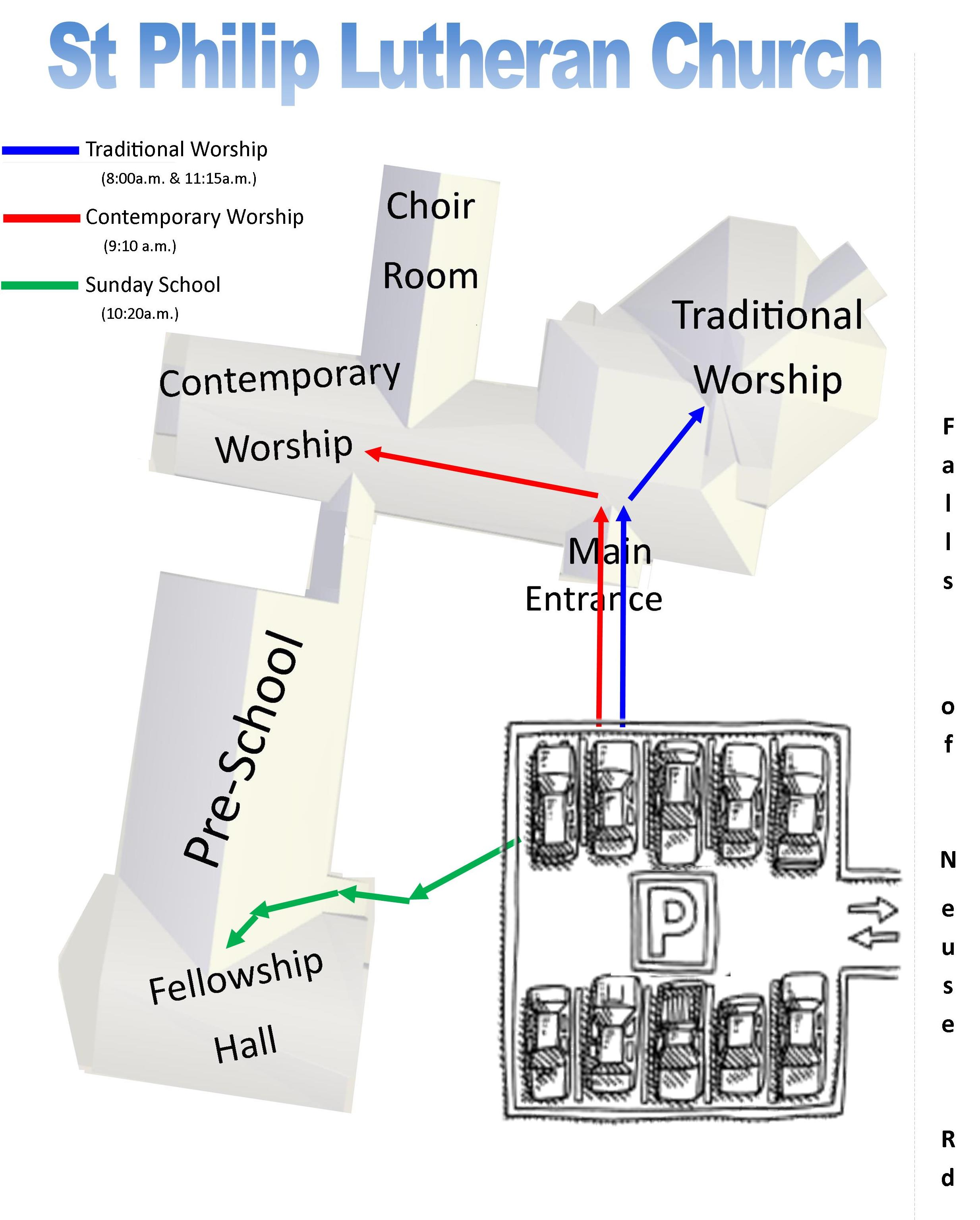 Click for a large image of the church map