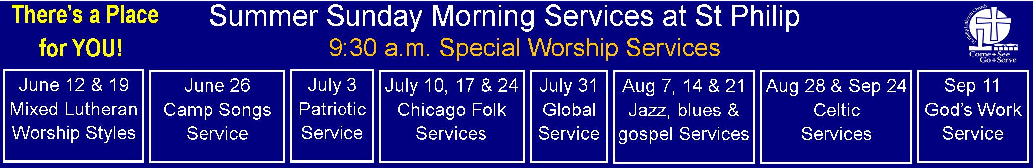 St Philip - Summer Schedule 2016